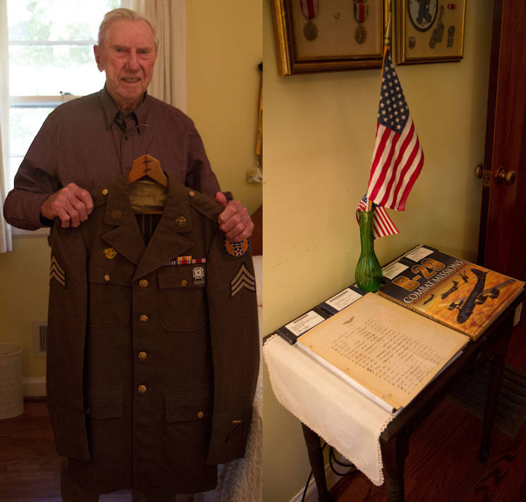 November 2, 2016 - On the left... World War II veteran William Dellinger (96) ... holds his dress uniform that he wore over 72 years ago. On the right... proudly displayed in William Dellinger's home in Charlotte North Carolina ... are the logs of every mission Dellinger pursued during WWII ... all written by him. A Greatest Generation story in first person! (Image created by USA Patriotism! from U.S. Army photos by Spc. Tynisha Daniel)