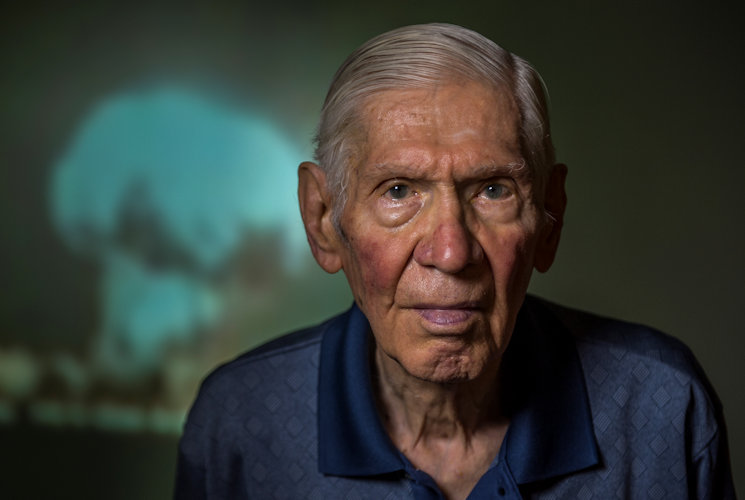 September 13, 2016 - Russell Gackenbach was the navigator aboard the B-29, Necessary Evil, one of three Superfortresses that flew the atomic bomb mission over Hiroshima, Japan on August 6, 1945. Gackenbach, whose duties included documenting the event with his camera, is the last surviving member of the mission. (U.S. Air Force photo by Master Sgt. Brian Ferguson)
