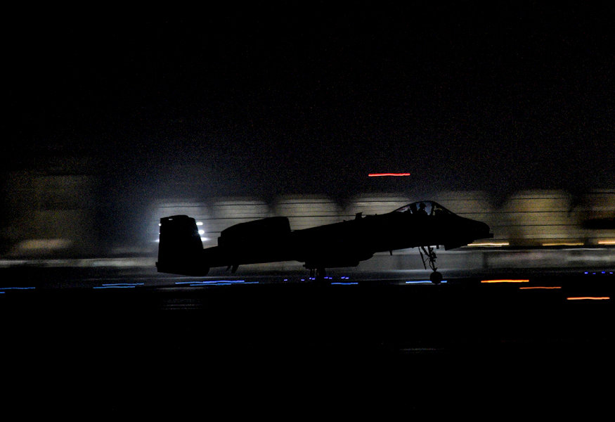 An A-10C Thunderbolt II, from the 75th Expeditionary Fighter Squadron, takes off in front of the Kandahar International Airport, on Kandahar Airfield, Afghanistan, Aug. 2, 2018. The A-10 flew in support of Operation Freedom's Sentinel providing aide to Afghan forces. (U.S. Air Force photo by Staff Sgt. Kristin High)
