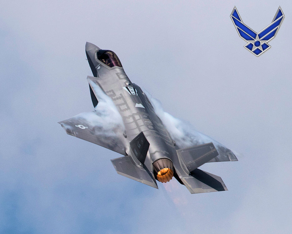 July 14, 2018 - A U.S. Air Force pilot demonstrates the capabilities of the F-35A Lightning II during the 2018 Royal International Air Tattoo, or RIAT, at RAF Fairford, UK. This year's RIAT celebrated the 100th anniversary of the RAF and highlighted the United States' ever-strong alliance with the U.K. (Image created by USA Patriotism! from U.S. Air Force photo by Tech. Sgt. Brian Kimball)