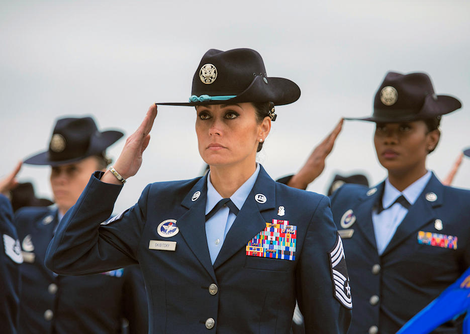 March 9, 2018 - U.S. Air Force Chief Master Sgt. Hope L. Skibitsky leads an all-female military training instructor formation to honor Women's History Month during a Basic Military Training graduation at Joint Base San Antonio, Texas. (U.S. Air Force photo by Ismael Ortega)