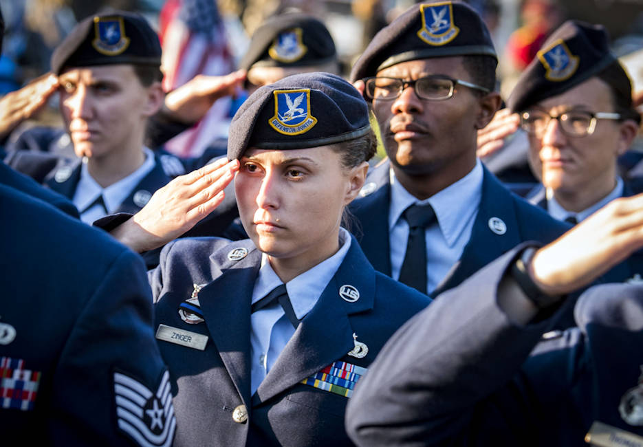 May 11, 2018 - U.S. Air Force Staff Sgt. Kaila Zinger with the 96th Security Forces Squadron and fellow airmen salute during a peace officers' memorial ceremony in Fort Walton Beach, Florida as part of National Police Week. (U.S. Air Force photo by Samuel King Jr.)