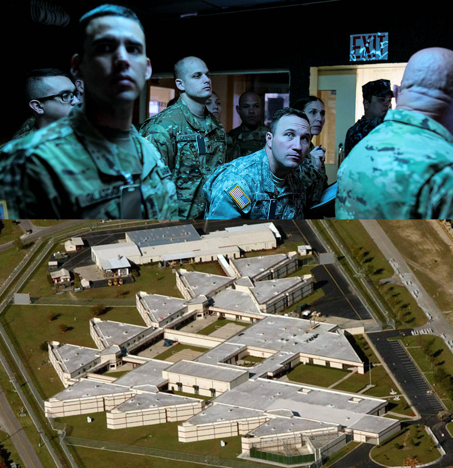 U.S. Army Reserve Soldiers from the 418th Military Police Detachment (Detention Camp Liaison), headquartered in Orlando, Florida, receive a tour of the U.S. Naval Consolidated Brig in Charleston, South Carolina, March 5, 2018. The 418th is one of five detention camp liaison detachments across the Army with the mission of assessing overseas prisons and detention camps managed by allied host nations. The Naval Brig in Charleston is an accredited military prison that meets every standard required by the Geneva Convention, giving the military police liaison unit a base to assess other detention centers around the world in partnering nations. (Image created by USA Patriotism! from photos by U.S. Army Reserve Master Sgt. Michel Sauret and the U.S. Navy.)