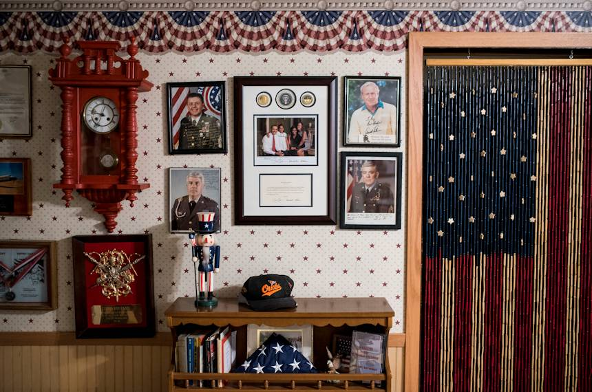 "February 22, 2018 - Various portraits, including famed golfer Arnold Palmer, hang on the basement wall of the ""Old Soldier"" Sgt. Maj. (Ret.) Raymond Moran's home in Odenton, Maryland. (U.S. Army Reserve photo by Master Sgt. Michel Sauret)"