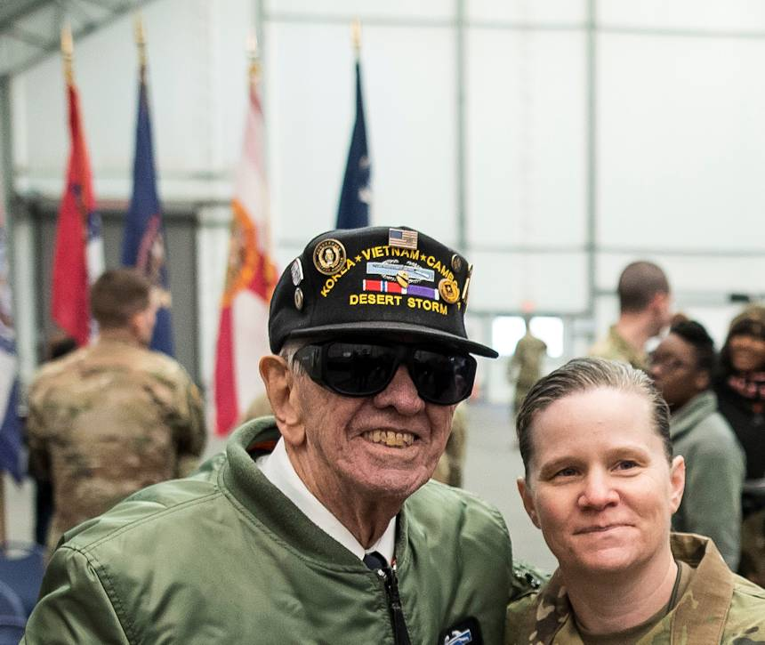 "March 9, 2018 - A command sergeant major asks to pose with the ""Old Soldier,"" Sgt. Maj. (Ret.) Raymond Moran, during a change of responsibility ceremony hosted by the First Recruiting Brigade on Fort Meade, Maryland. Moran had served as the brigade's sergeant major before retiring and devoted 65 years of total service as an enlisted Soldier and as a Department of the Army civilian in the U.S. Army and Army Reserve. He served in Korea, Vietnam, Japan, Cambodia and during Desert Storm. (U.S. Army Reserve photo by Master Sgt. Michel Sauret)"