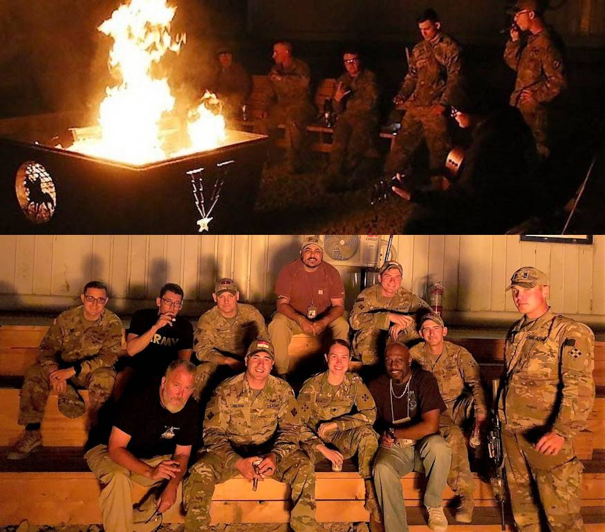 Task Force Southeast Soldiers and civilians enjoy fellowship, cigars and a bonfire during the weekly gathering known as Cigar-Dez on Advisor Platform Lightning, August 3, 2018. Cigar-Dez was developed as a way to help civilian contract law enforcement professional advisors develop friendships with their U.S. Army advisor counterparts and to help relieve stress while serving in Afghanistan. (Image created by USA Patriotism! from U.S. Army photos by 2nd Lt. Landon Clifford)