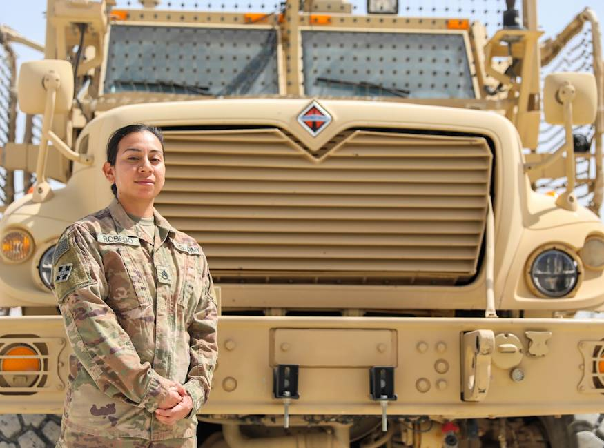 September 15, 2018 - U.S. Army Staff Sgt. Erica Robedo, a wheeled vehicle mechanic assigned to Company G, 1st Battalion, 12th Infantry Regiment, 2nd Infantry Brigade Combat Team, 4th Infantry Division, was motivated to enlist in the U.S. Army by her father who served in the Vietnam War. (U.S. Army photo by Staff Sgt. Neysa Canfield)