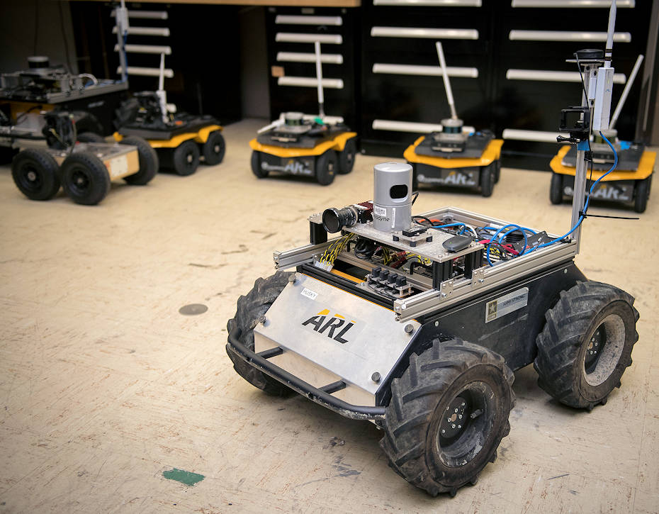 July 2, 2018 - A small unmanned Clearpath Husky robot, which was used by U.S. Army Research Laboratory researchers to develop a new technique to quickly teach robots novel traversal behaviors with minimal human oversight. (U.S. Army photo by Jhi Scott)