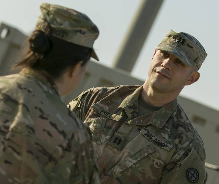 December 3, 2017 - U.S. Army Capt. Jason Price, headquarters support company commander, 35th Infantry Division, Camp Arifjan, Kuwait, discuses his military career and civilian life. (U.S. Army photo by Master Sgt. Mark Hanson)