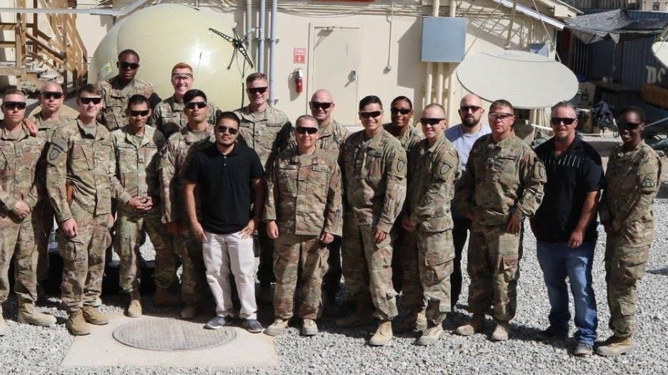 U.S. Army Capt. Domoniqué Hittner, far right, assistant product manager for Satellite Communications assigned to the PM for Tactical Network, with her fellow team members who provided new equipment training and fielding to the 1st SFAB in Afghanistan in September 2018. (U.S. Army courtesy photo)
