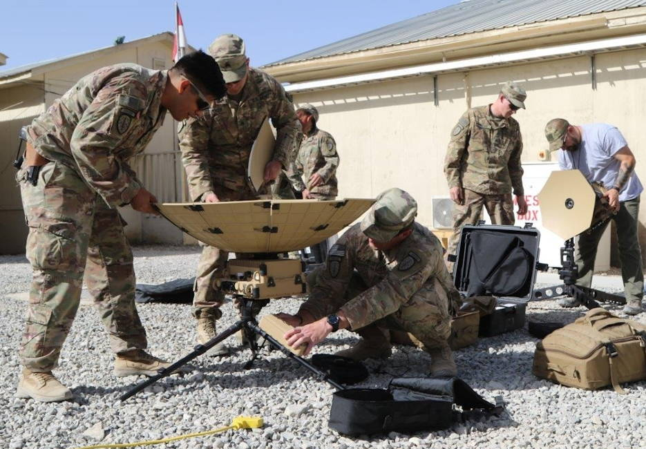 The PM for Tactical Network provided new equipment training on SCOUT satellite terminals to the 1st SFAB in Afghanistan in September 2018. The SCOUT training showed that the Soldiers' network experience varied widely, leading to the refinement of training to teach the operators what they need to know based on what equipment they'll be operating and at what level. (U.S. Army photo by Catherine Deran)