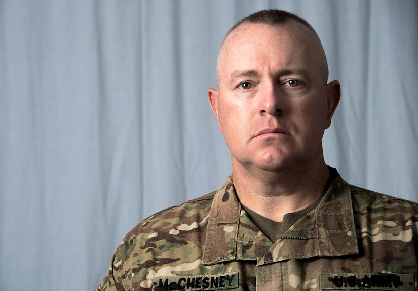 September 26, 2018 - In an interview with the 380th Public Affairs office, U.S. Army 1st Sgt. Richard Allen McChesney opens up about his decision to join the military and why he serves at Al Dhafra Air Base, United Arab Emirates. (U.S. Air Force photo by 1st Lt. Lou Burton)