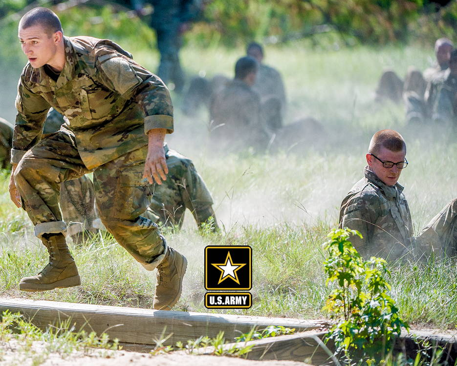 U.S. Army trainees from Delta Company, 2nd Battalion, 19th Infantry Regiment, train on the Sand Hill Obstacle Course at Fort Benning, Georgia on August 28, 2018. The battalion is charged with training and transforming civilians into disciplined, adaptive and flexible Infantrymen, ready to accomplish the mission of the Infantry Corps. (Image created by USA Patriotism! from U.S. Army photo by Patrick A. Albright, Maneuver Center of Excellence, Fort Benning Public Affairs)