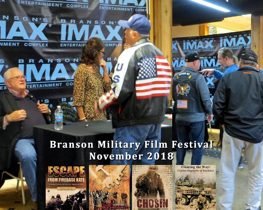 The 6th annual Branson Military Film Festival occurred in Branson, Missouri at the IMAX Entertainment Complex November 6-10, 2018 with the above scenes showing David Bancroft, USA Patriotism! founder, interacting with Escape From Firebase Kate author William Albracht (far left) along with Albracht fellow Vietnam War veterans discussing the associated film after seeing it on November 10th. (Image created by USA Patriotism!)