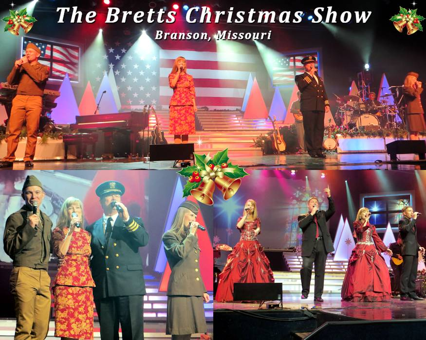 Whenever visiting Branson, Missouri during November and December ... The Bretts Christmas show ... is a must experience ... as these scenes from a November 2018 show's inspiring performances reflect. This amazingly talented family show grabs the audience from the start ... never letting go ... including a pride inducing mini-play paying tribute to returning troops during the Christmas season after deployment in World War II. The Bretts Show ... is heart touching on many levels ... and all about ... Christmas, Country, Family, and Faith! (Image and associated photos by USA Patriotism!)