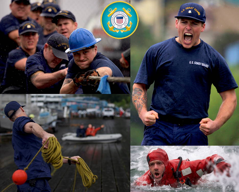 Scenes of the U.S. Coast Guard Buoy Tender Roundup Olympics at Coast Guard Station Juneau, Alaska. The Buoy Tender Roundup Olympics builds morale amongst cutter members, while providing a fun alternative to every day training in events such as the tug-o-war, chain pull, survival swim, line toss, and the heat-and-beat. Crews aboard Coast Guard buoy tenders in Alaska service 1,350 navigational aids along 33,000 miles of coastline while actively participating in search and rescue, environmental protection and law enforcement missions.  (Image created by USA Patriotism! from U.S. Coast Guard photos by Petty Officer 1st Class Jon-Paul Rios)