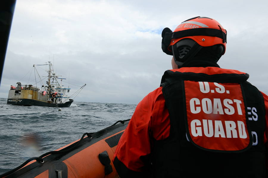Petty Officer 3rd Class Cameron Popeck, a boarding team coxswain for the USCGC Mellon (WHEC 717), approaches the fishing vessel Polar Star to deploy a boarding team to enforce laws and regulations related to U.S. fisheries in the Bering Sea on May 30, 2018. The Mellon crew conducted the commercial fishing vessel boarding during an Alaskan patrol. (U.S. Coast Guard photo by Petty Officer 1st Class William Colclough)