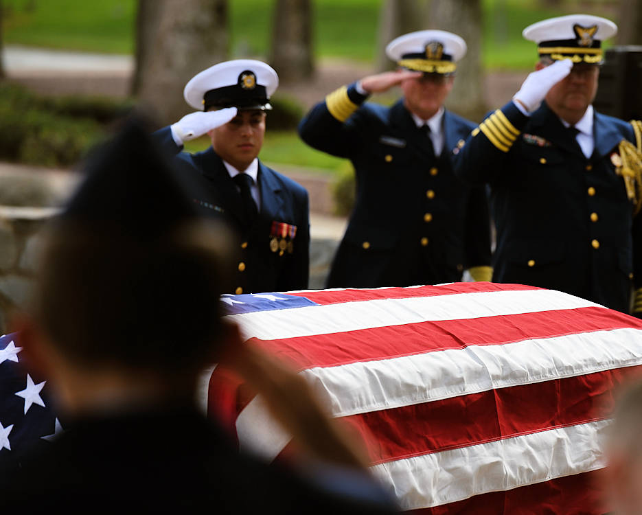 October 1, 2018 - Coast Guardsmen render a final salute during the funeral service for Coast Guard Master Chief Petty Officer Melvin Kealoha Bell in Riverside, California. Bell passed away at 98 years of age on September 9, 2018. (U.S. Coast Guard photo by Petty Officer 1st Class Mark Barney)