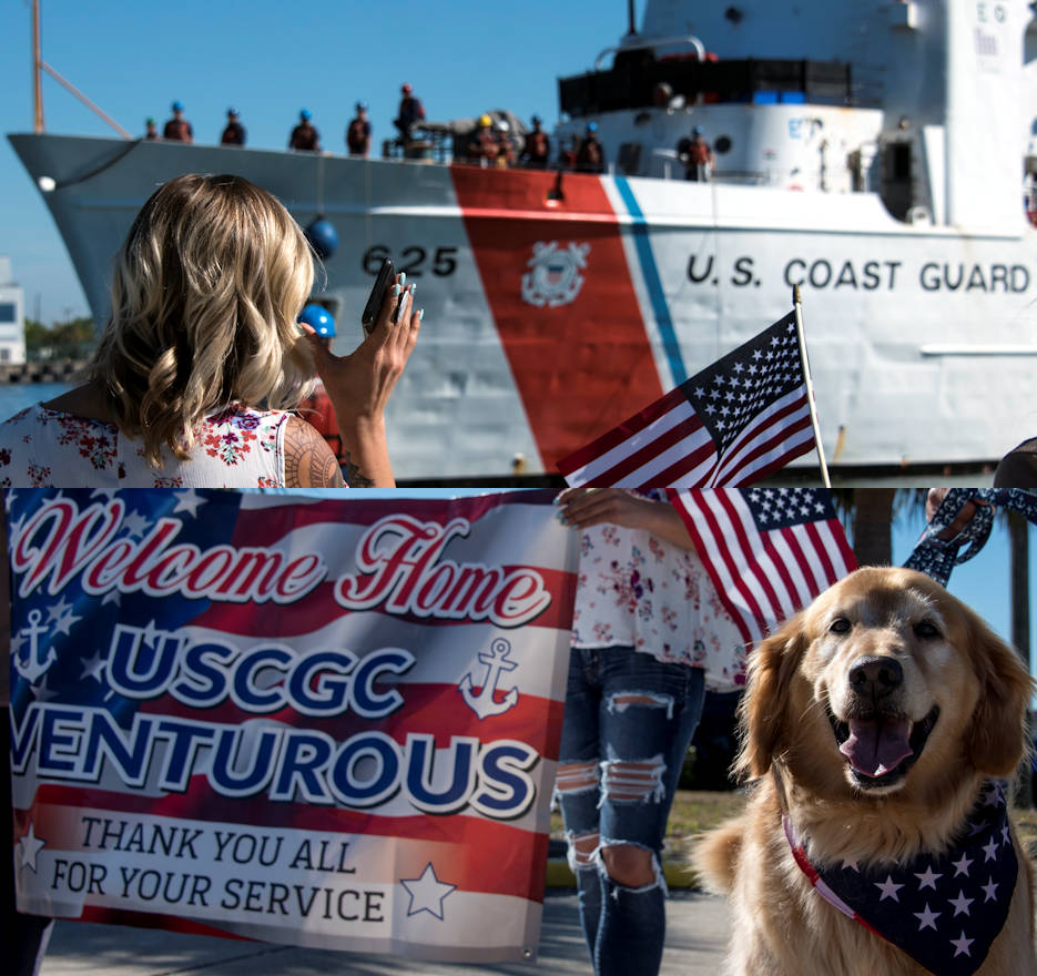 March 17, 2018 - Family and friends of the Coast Guard Cutter Venturous crew wave to crewmembers returning home to St. Petersburg, Florida. The crew of the Venturous returned to homeport after a 60-day counter-drug patrol in the Eastern Pacific Ocean. (Image created by USA Patriotism! from U.S. Coast Guard photos by Petty Officer 1st Class Michael De Nyse)