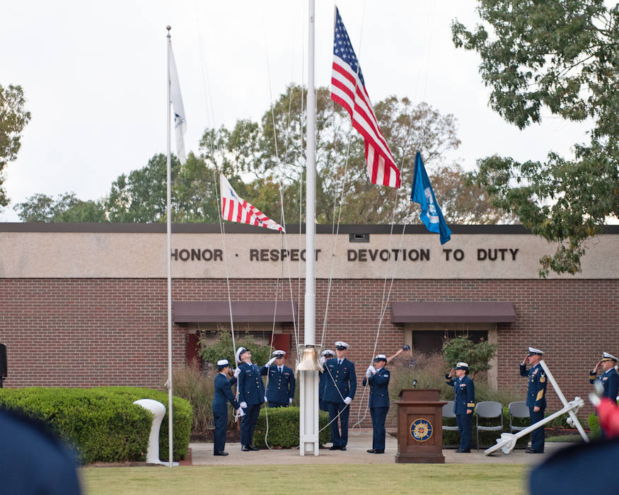 The 11 crewmen who perished when Coast Guard Cutter Cuyahoga sank in 1978 were remembered during evening colors at Coast Guard Training Center on October 20, 2018. A series of events were held to commemorate the 40th anniversary of the tragedy. (U. S. Coast Guard photo by Auxiliarist Trey Clifton)