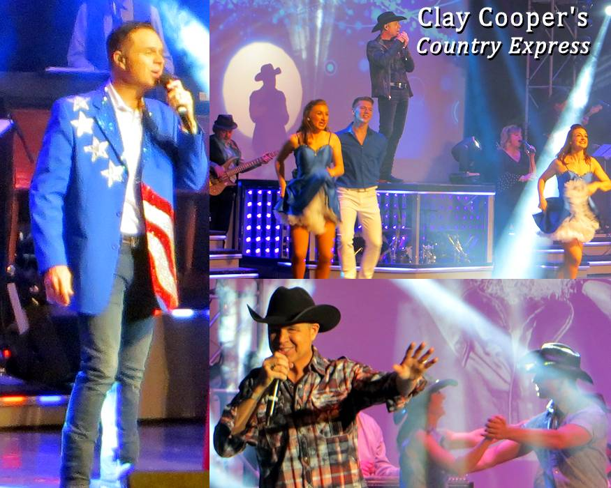 Scenes from the Clay Cooper's Country Express show in Branson, Missouri on November 4, 2018.  The must see high-energy show, headlined by the country music entertainer Clay Cooper, includes 24 entertainers ... a live band, dancers, more singers, and multi-talented comedian Matt Gumm. The show also includes rock, gospel, and patriotic music performances. (Image and associated photos by USA Patriotism!)