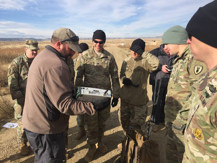 October 31, 2017 - Scott Swanson, a spectrum analyzer with Fort Carson Counter IED Academy, demonstrates the frequencies radiated from ECM devices during a multi-day training exercise to be certified operators of the unit's electronic countermeasure equipment at Fort Carson, Colorado. (U.S. Army photo by Staff Sgt. Lance Pounds)