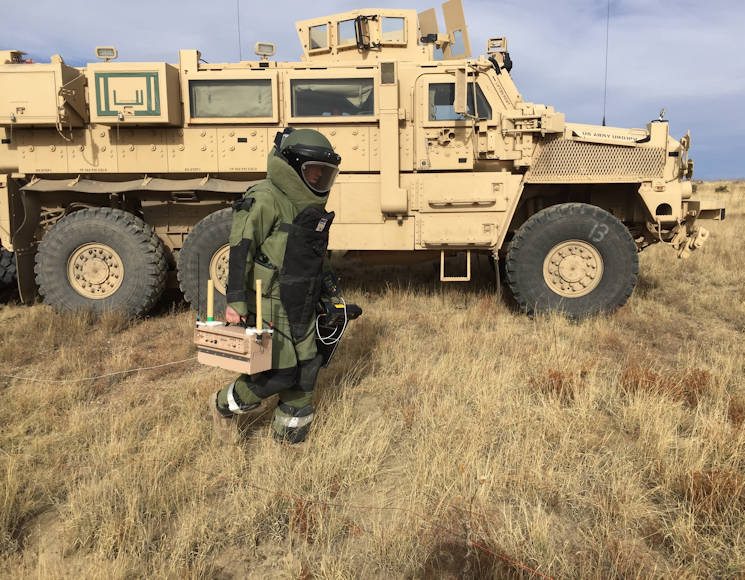November 1, 2017 - U.S. Army Cpl. Alexander LeBlanc, an EOD technician with 774th Ordnance Company, 242th OD BN, 71st OD GP, transport ECM equipment to the site of a simulated explosive device during a multi-day training exercise to be certified operators of the unit's electronic countermeasure equipment at Fort Carson, Colorado. (U.S. Army photo by Staff Sgt. Lance Pounds)