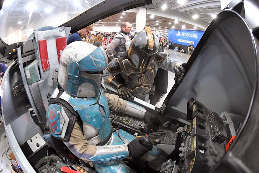 September 7, 2018 - FanX visitors dressed as Star Wars characters try out the A-10 cockpit flight simulator at the Hill Air Force Base STEM Outreach booth in Salt Lake City. (U.S. Air Force photo by Todd Cromar)