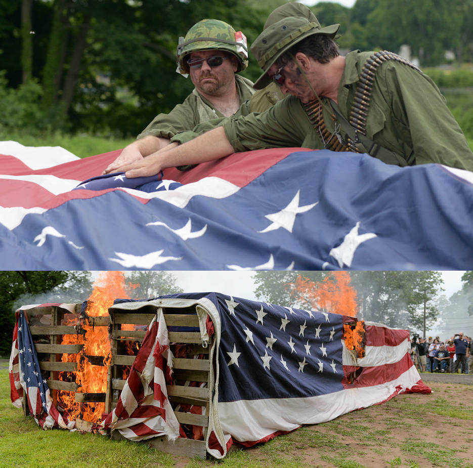 The American Legion, Post 45, Meriden, Connecticut, conducts a Disposal of Un serviceable Flags Ceremony on June 10, 2018 in Meriden, Conn. The purpose of the ceremony is to encourage proper respect for the Flag of the United States and to provide for disposal of unserviceable flags in a dignified manner. (Image created by USA Patriotism! from Air National Guard photos by Tech. Sgt. Tamara R. Dabney)
