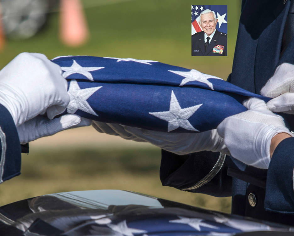 March 13, 2018 - Airmen fold an American flag over the casket of retired Brig. Gen. Belisario J. Flores during his interment ceremony at Fort Sam Houston National Cemetery in San Antonio, Texas. (Image created by USA Patriotism! from U.S. Air Force photo by Ismael Ortega)