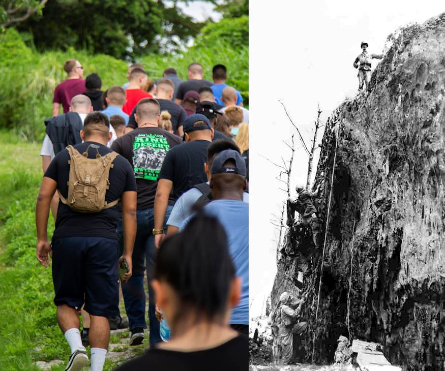 Sept. 7, 2018 - Marines and Sailors with Headquarters Company, Headquarters Regiment, 3rd Marine Logistics Group, hike up Hacksaw Ridge, Okinawa, Japan during a World War II battle site tour. It provided them with visual information in learning about the U.S. Marine Corps' history on Okinawa and remembering those who have gone before them. (Image created by USA Patriotism! from U.S. Marine Corps courtesy photo and photo by Pfc. Terry Wong)
