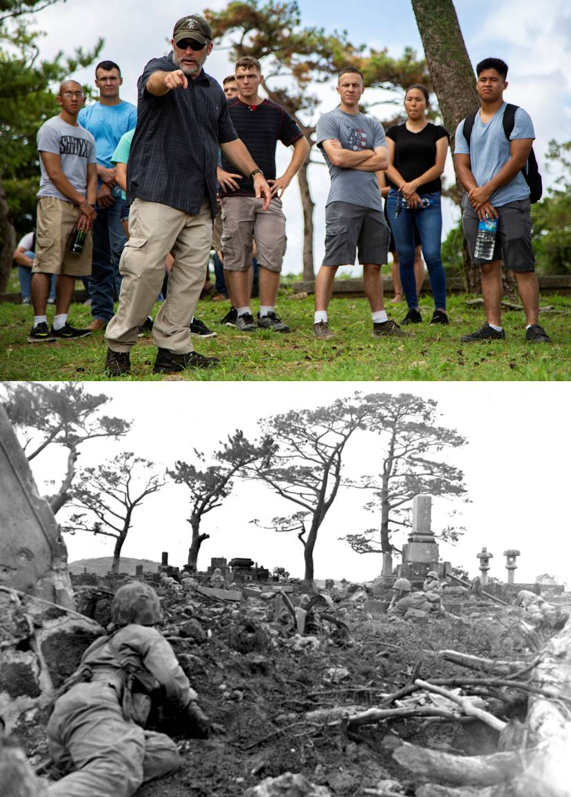 Chris Majewski points to a Japanese offensive position during a tour Sept. 7, 2018 at Hacksaw Ridge, Okinawa, Japan during a World War II battle site tour associated with the U.S. Marine Corps' history on Okinawa, while remembering those who have gone before them. Majewski is a tour guide with Marine Corps Community Services Tours+. (Image created by USA Patriotism! from U.S. Marine Corps courtesy photo and photo by Pfc. Terry Wong)