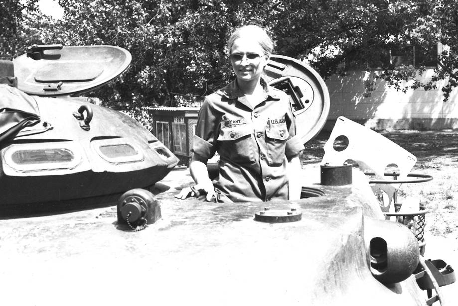 U.S. Army Chemical Materials Activity Human Resources Specialist Linda Bryant enlisted in the Women's Army Corps (WAC) in May 1977, 17 months before the WAC was disbanded. As one of the first women to integrate into previously all-male units, Bryant trained as a turret mechanic. Here, she stands in an M60 tank at her first duty station, Boblingen, Germany in 1978. (Image courtesy of Linda Bryant)