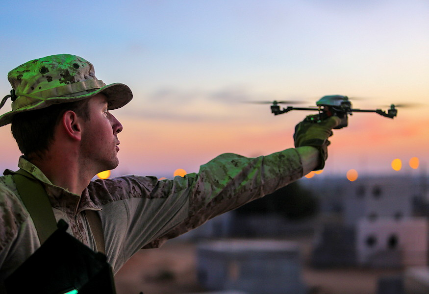 U.S. Marine Sgt. Jared Hoffpauir, assigned to Battalion Landing Team, 2nd Battalion, 6th Marine Regiment (BLT 2/6), 26th Marine Expeditionary Unit (MEU), launches an XMQ 13 Instant Eye unmanned aerial system during exercise Juniper Cobra 2018 at the National Training Center in Israel on March 13, 2018. Juniper Cobra is a computer-assisted exercise conducted through computer simulations focused on improving combined missile defense capabilities and overall interoperability between the U.S. European Command and Israel Defense Force. (U.S. Marine Corps photo by Cpl. Jon Sosner)