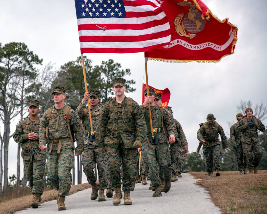 January 30, 2018 - U.S. Marines with 2nd Marine Division walk during the 50-mile challenge hike on Camp Lejeune, NC. The hike was held to challenge officer's and enlisted Marines' skill and will ... in association with honoring the tradition of following President Theodore Roosevelt's Executive Order 989. (U.S. Marine Corps photo by Lance Cpl. Michaela R. Gregory)