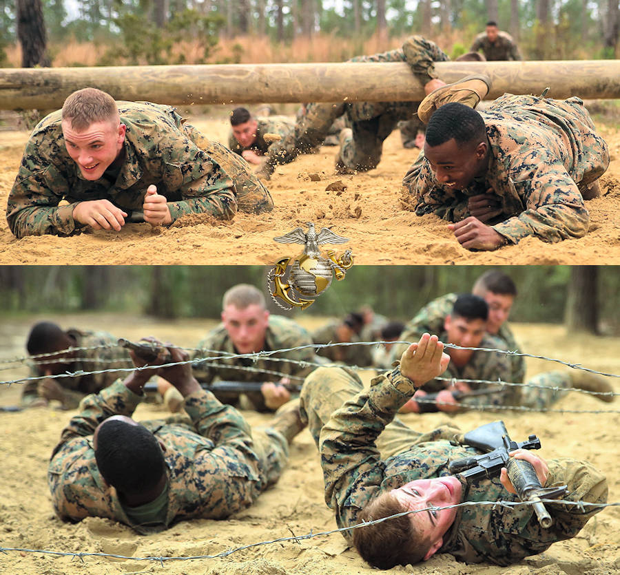 Marines maneuver through obstacles during the combat endurance course aboard Marine Corps Recruit Depot Parris Island, February 28, 2018. The Marines attending Corporal's Course conduct physical training like the combat endurance course to foster unit cohesion and to work together as a team. Each Marine was given the chance to lead their squad through an obstacle and learned valuable lessons learned during the execution. (Image created by USA Patriotism! from U.S. Marine Corps photos by Cpl. Benjamin McDonald)