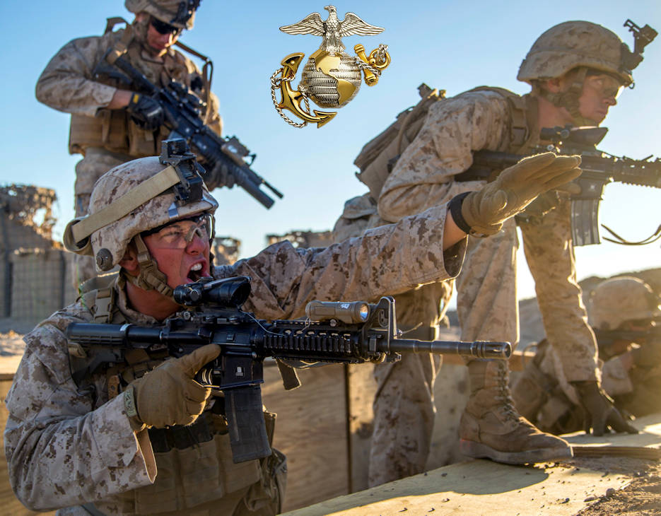 March 1, 2018 - U.S. Marine Corps 1st Lt. Alex Gundy gives the order to take the last objective during a simulated raid while participating in 13th Marine Expeditionary Unit's realistic urban training at Twenty-Nine Palms, California. Gundy is the 3rd Platoon commander assigned to Kilo Company, Battalion Landing Team, 3rd Battalion, 1st Marines. (Image created by USA Patriotism! from U.S. Marine Corps photo by Lance Cpl. A. J. Van Fredenberg)