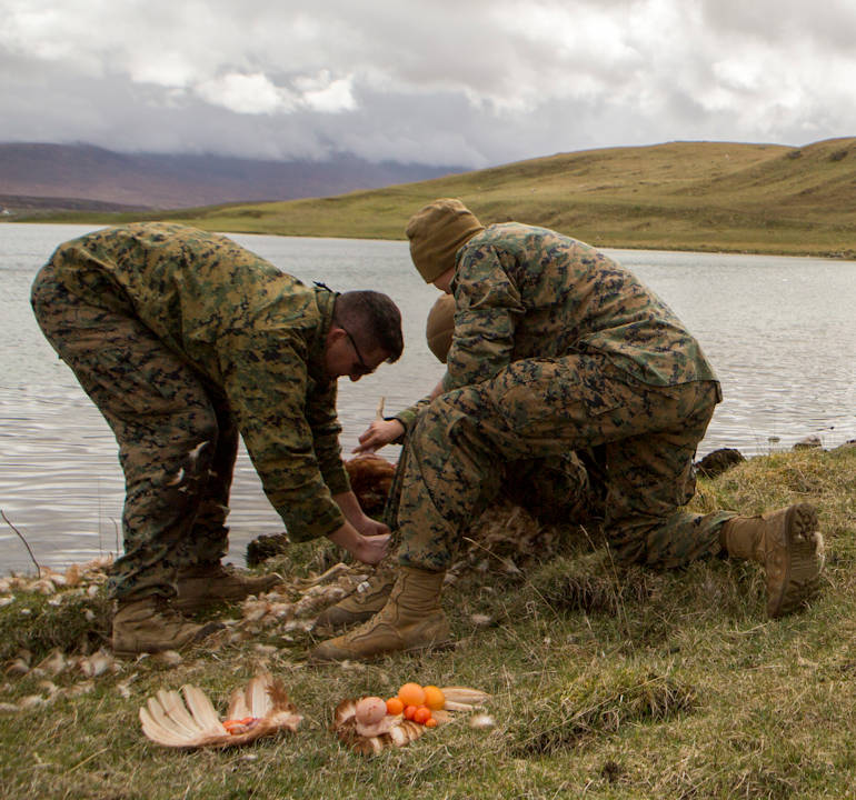 After a demonstration from British Commando's, Marines with 4th Air Naval Gunfire Liaison Company, Force Headquarters Group, pluck and dress a chicken during survival training, in Durness, Scotland, April 26, 2018. 4th ANGLICO is in Scotland to take part in Joint Warrior 18-1, an exercise that furthers their readiness and effectiveness in combined arms integration, small unit tactics and land navigation. This training aims at improving their capabilities and combat effectiveness and ensures they're ready to fight tonight. (U.S. Marine Corps photo by Cpl. Dallas Johnson)