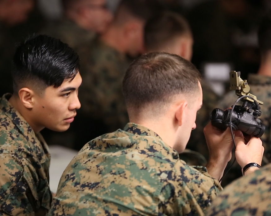 Marines took delivery of the Squad Binocular Night Vision Goggles during new equipment training in December 2018 at Camp Lejeune, North Carolina. (U.S. Marine Corps photo by Joseph Neigh)