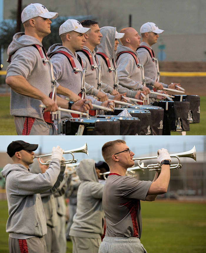 "U.S. Marines with ""The Commandants Own"" U.S. Marine Corps Drum & Bugle Corps conduct practice at Marine Corps Air Station Yuma, Ariz., Feb. 13, 2018 to prepare for their West Coast tour. The Marine Corps Drum & Bugle Corps are apart of The Battle Color Detachment along with the Marine Corps Silent Drill Platoon and The Official Color Guard of the Marine Corps. (Image created by USA Patriotism! from U.S. Marine Corps photos by Lance Cpl. Sabrina Candiaflores)"