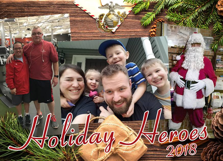 Whether spreading joy during the holidays or throughout the year, these U.S. Marine Corps Systems Command employees are making history in the lives of their own children and those in their communities. Meet MCSC's 2018 Holiday Heroes: (from left) Tim Doyle, Erin and Nathan Thompson, and Ron Dingle. (Image created by USA Patriotism! from U.S. Marine Corps graphic by Cassandra Merchant, December 20, 2018)