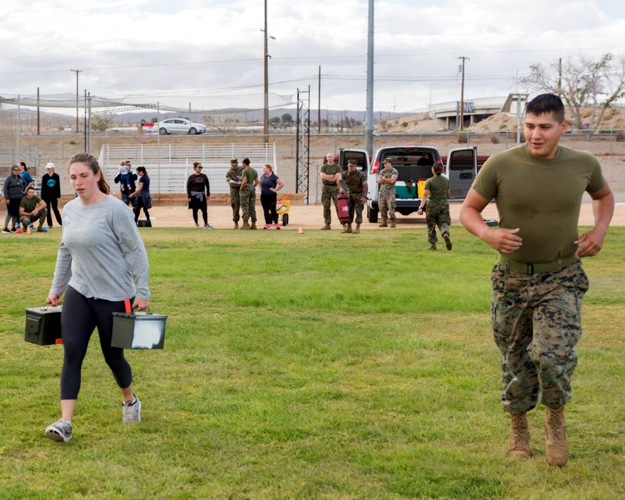 October 12, 2018 - U.S. Marine Corps troops, military spouses, and civilian employee spouses competed during the Combat Fitness Test event of Jane Wayne Day aboard Marine Corps Logistics Base Barstow, California. (U.S. Marine Corps photo by Sgt. Jack Adamyk)