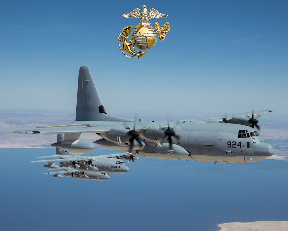 March 30, 2018 - Three KC-130J Super Hercules with Marine Aerial Refueler Transport Squadron (VMGR) 352, Marine Aircraft Group 11, 3rd Marine Aircraft Wing, conduct a ceremonial formation flight for the VMGR-352 75th anniversary at Marine Corps Air Station Miramar, California. The squadron held a battle color ceremony, which consisted of a reading of the unit's citations and awards, a color guard, performance by the 3rd MAW band and a ceremonial formation flight. (Image created by USA Patriotism! from U.S. Marine Corps photo by Lance Cpl. Clare J. McIntire)