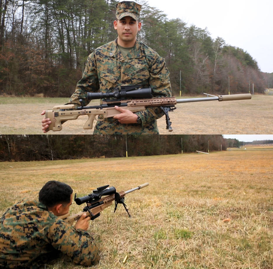 Sgt. Randy Robles, Quantico Scout Sniper School instructor and Marine Corps Systems Command liaison, demonstrates the Mk13 Mod 7 Sniper Rifle during training aboard Marine Corps Base Quantico, Virginia. MCSC will field the Mk13 in late 2018 and throughout 2019 to increase the lethality and combat effectiveness of scout snipers on the battlefield. (Image created by USA Patriotism! from U.S. Marine Corps photos by Kristen Murphy)