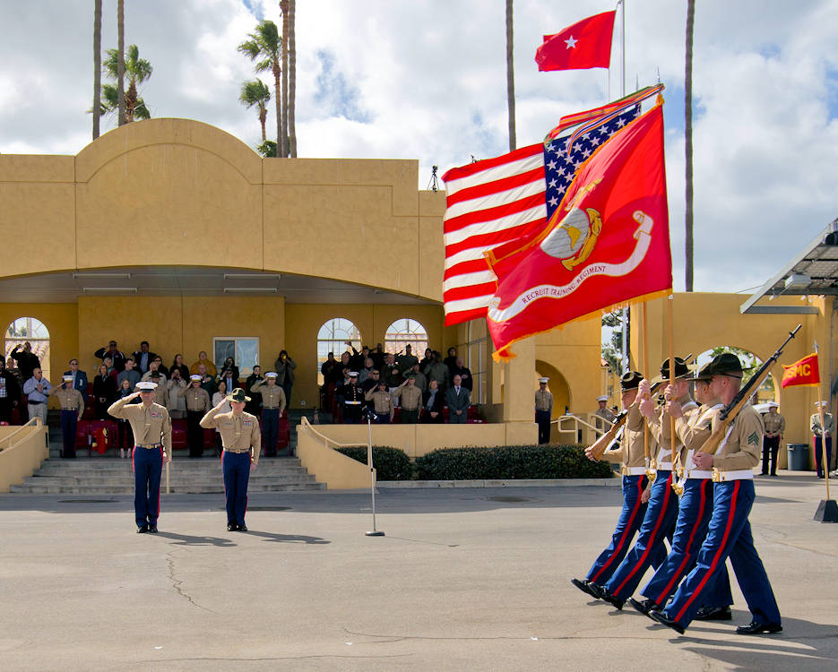 February 23, 2018 - Marines with Mike Company, 3rd Recruit Training Battalion, march as a company for the last time during their graduation at Marine Corps Recruit Depot San Diego. Graduation takes place at the completion of a thirteen-week transformation including training in drill, marksmanship, basic combat skills and Marine Corps customs and traditions. (U.S. Marine Corps photo by Lance Cpl. Jose Gonzalez)