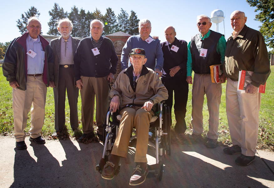 U.S. Marine veterans stand in front of their class memorial at Marine Corps Base Quantico on October 18, 2018. The veterans got together for the reunion of The Basic School's first special basic class of 1950, some of whom served together in Korea. (U.S. Marine Corps photo by Lance Cpl. Quinn Hurt)