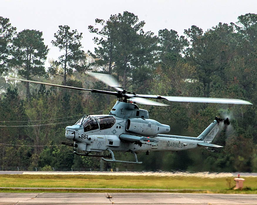 November 9, 2018 - A U.S. Marine Corps AH-1Z Viper with Marine Light Attack Helicopter Squadron (HMLA) 167 prepares to land on the flight line at Marine Corps Air Station New River, North Carolina. (U.S. Marine Corps photo by Cpl. Jered T. Stone)