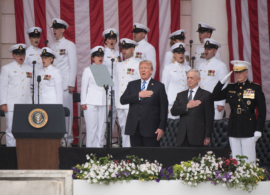 President Donald J. Trump, Defense Secretary James N. Mattis, and Marine Corps Gen. Joe Dunford, chairman of the Joint Chiefs of Staff, render honors during the 150th National Memorial Day Observance at Arlington National Cemetery, Virginia on May 28, 2018 ... honoring America's fallen military service members. (DoD photo by U.S. Army Sgt. James K. McCann)