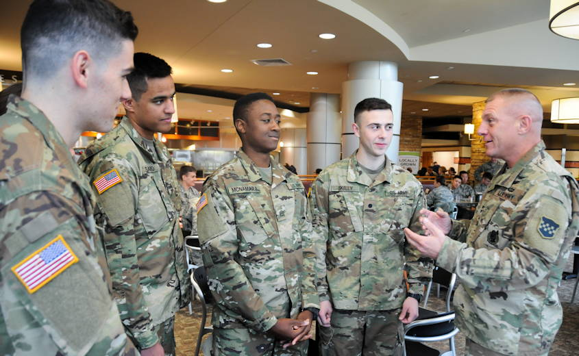 October 20, 2018 - Maj. Gen. Troy D. Kok, commanding general of the U.S. Army Reserve's 99th Readiness Division (right), speaks with ROTC cadets at Boston University prior to BU's 2018 Joint Service Pass-in-Review Ceremony. Kok strongly encouraged science, technology, engineering and mathematics studies during his remarks, emphasizing how important studies in STEM fields are on the road to success as an ROTC student and to the future of America's Army Reserve. (U.S. Army photo by Sgt. Salvatore Ottaviano)
