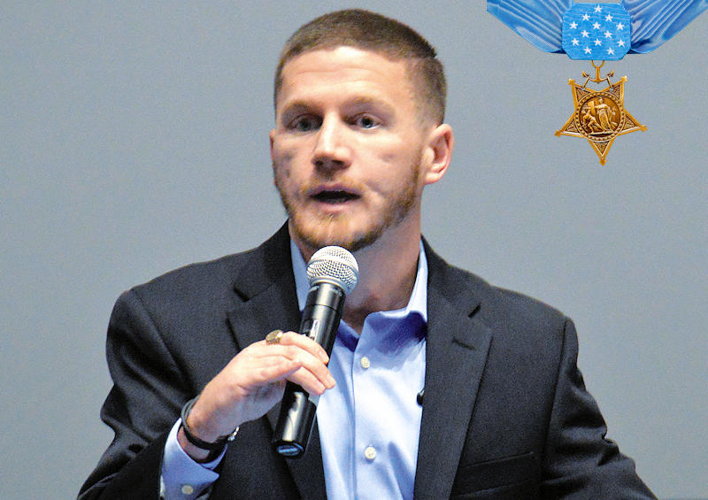 Medal of Honor recipient Marine veteran Cpl. Kyle Carpenter spoke about his road to recovery after the near fatal grenade blast he received during Operation Enduring Freedom in Marjah, Afghanistan along with the reputation of the Marines; the importance of commitment, service, and sacrifice to the nation ... during the Heroes Among Us event at the National Museum of the Marine Corps on February 24, 2018. (Image created by USA Patriotism! from photo by Jeremy Beale, Staff Writer - U.S. Marine Corps Base Quantico)
